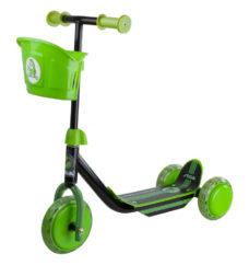 Самокат 3-х колесный чёрный / зелёный