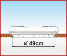 Lyuk Fiamma Rooflight s ventilyatsiej i dvojnymi zhalyuzi 50x50 belyj 2