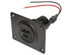125 Dvojnoj razem Power USB C A s montazhnoj plastinoj 12 24 V postoyannogo toka chernyj